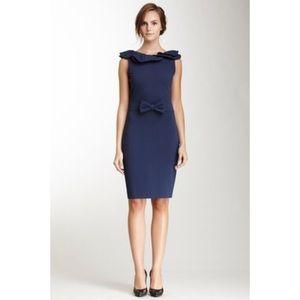 R.E.D Valentino Navy Ruffle Bow Ponte Sheath Dress